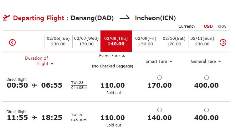 Hành trình Đà Nẵng - Incheon