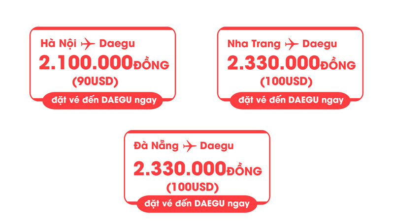 Vé máy bay khuyến mãi T'way đến Daegu